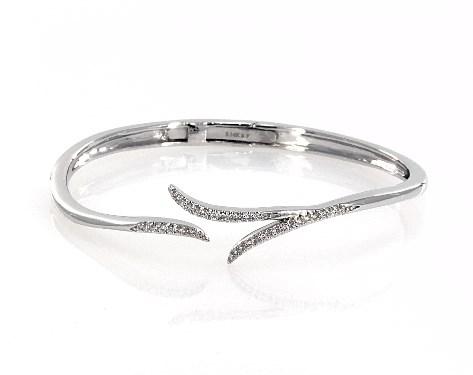 14K White Gold Vine Motif Diamond Hinged Bracelet
