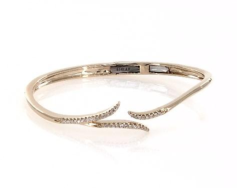 14K Yellow Gold Vine Motif Diamond Hinged Bracelet