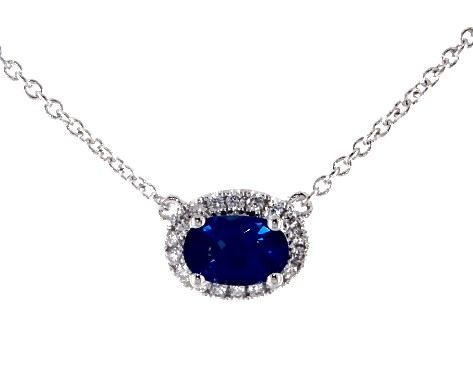 Image result for 18K WHITE GOLD EAST-WEST SET OVAL HALO SAPPHIRE AND DIAMOND NECKLACE (6.0X4.0MM)