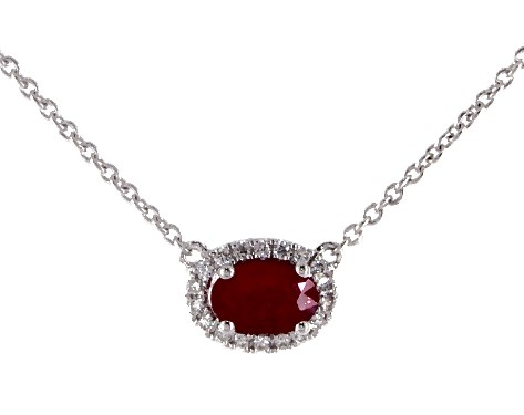 18K White Gold East-West Set Oval Halo Ruby and Diamond Necklace (6.0x4.0mm)