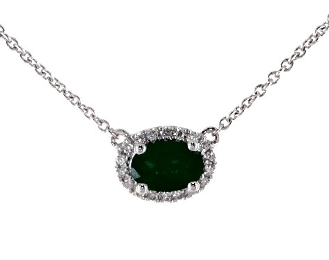 18K White Gold East-West Set Oval Halo Emerald and Diamond Necklace (6.0x4.0mm)
