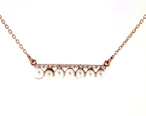 14K Rose Gold Freshwater Seed Pearl and Diamond Bar Necklace
