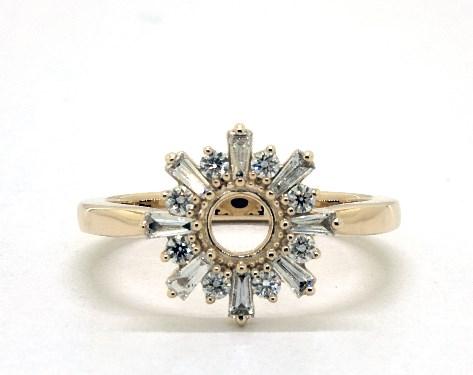 14K Yellow Gold Sunburst Diamond Ring