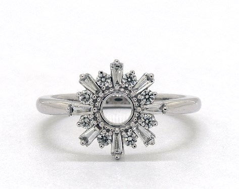 14K White Gold Sunburst Diamond Ring