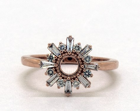 14K Rose Gold Sunburst Diamond Ring
