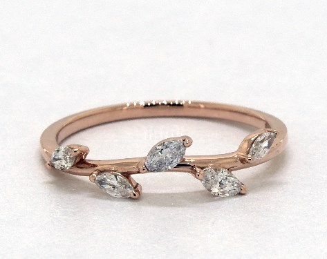 14K Rose Gold Diamond Leaf Ring