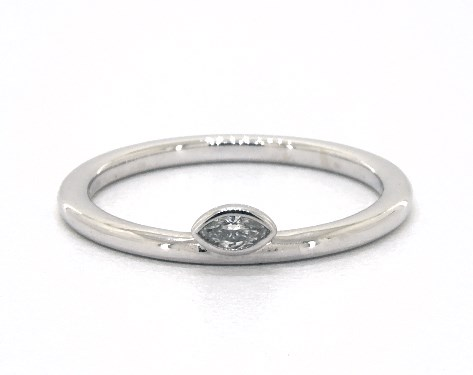 Wedding Rings Womens Stackable 14k White Gold Petite Marquise