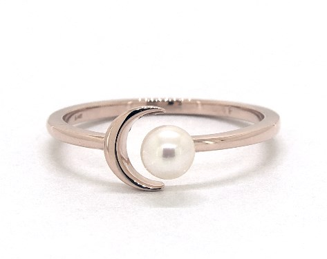 14K Rose Gold Freshwater Pearl Crescent Ring