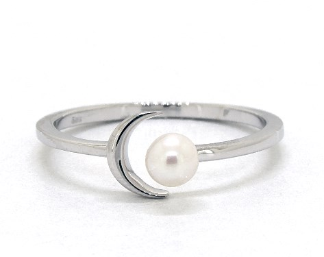 14K White Gold Freshwater Pearl Crescent Ring