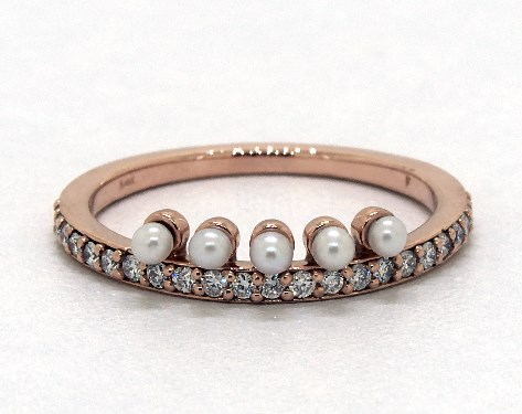 Pearl Wedding Rings.14k Rose Gold Crown Freshwater Seed Pearl And Diamond Ring