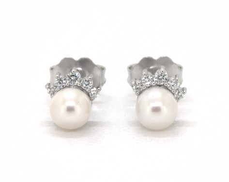 14k White Gold Crown Freshwater Pearl And Diamond Earrings