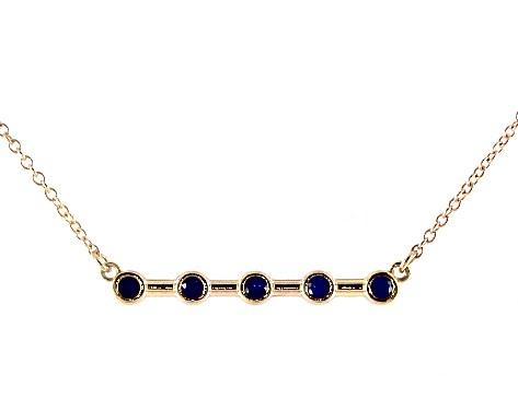 14K Yellow Gold Blue Sapphire Bezel Set Bar Necklace