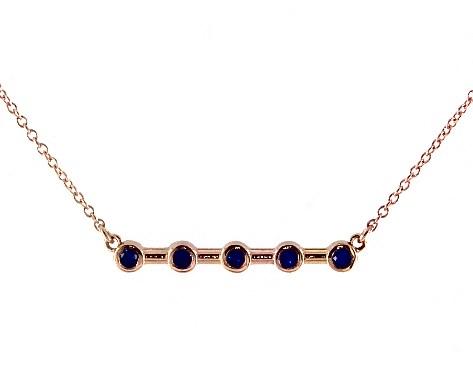 14K Rose Gold Blue Sapphire Bezel Set Bar Necklace