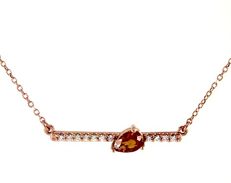 14K Rose GoldPear Shaped Citrine and Diamond Bar Necklace