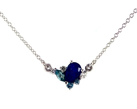 14K White Gold Sapphire, Blue Zircon and Diamond Cluster Necklace