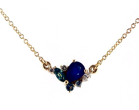 14K Yellow Gold Sapphire and Diamond Cluster Necklace