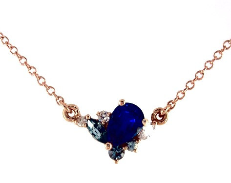 14K Rose Gold Marquise Shaped Sapphire and Diamond Cluster Necklace