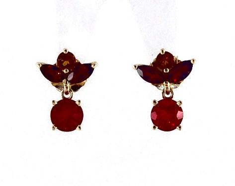 14K Yellow Gold Petite Fire Opal, Citrine and Garnet Drop Earrings