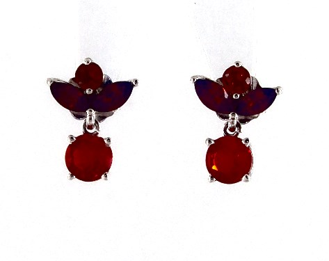 14K White Gold Petite Fire Opal, Citrine and Garnet Drop Earrings