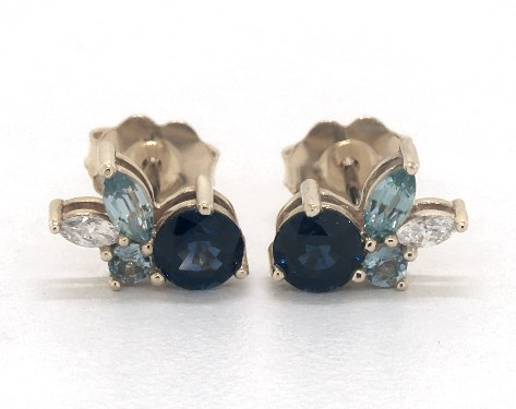 14K Yellow Gold Sapphire and Blue Zircon Cluster Earrings