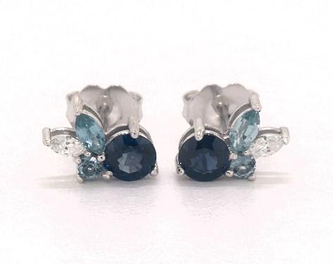 14K White Gold Sapphire and Blue Zircon Cluster Earrings