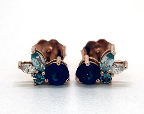 14K Rose Gold Sapphire and Blue Zircon Cluster Earrings