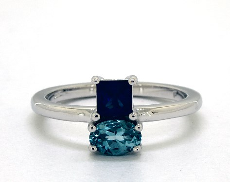 14K White Gold Blue Sapphire and Aquamarine Asymmetrical Ring