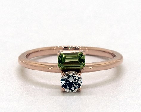 14K Rose Gold Peridot and White Sapphire Two-Stone Ring