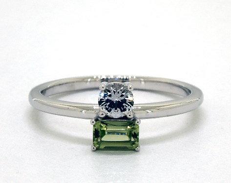 14K White Gold Peridot and White Sapphire Two-Stone Ring