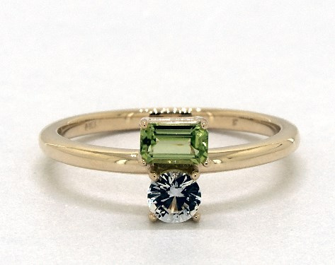 14K Yellow Gold Peridot and White Sapphire Two-Stone Ring