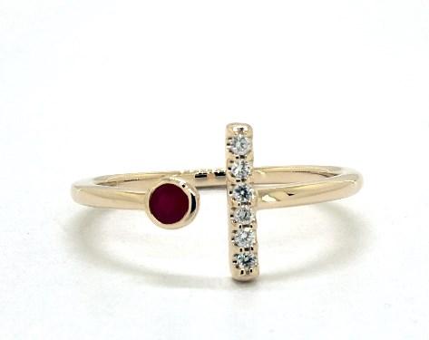 14K Ruby Diamond Bar Channel Wedding Band Ring Size 8 Yellow Gold