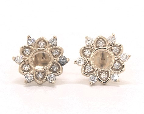 14K Yellow Gold Starburst Lotus Diamond Earrings