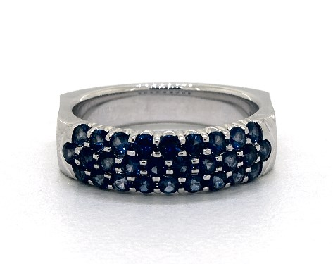 14K White Gold Perfect Fit 3 Row Pave Sapphire Ring