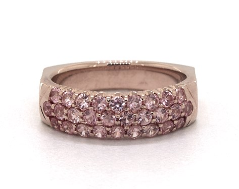 14K Rose Gold Perfect Fit 3 Row Pave Pink Sapphire Ring