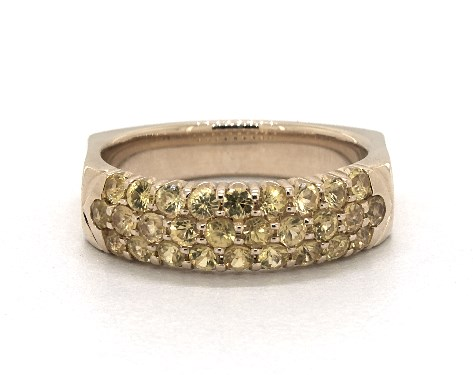 14K Yellow Gold Perfect Fit 3 Row Pave Yellow Sapphire Ring