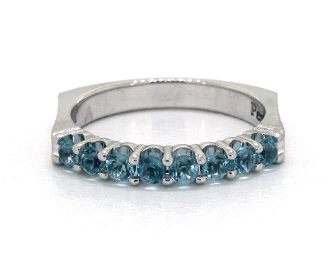 14K White Gold Perfect Fit Single Row Pave Blue Topaz Ring