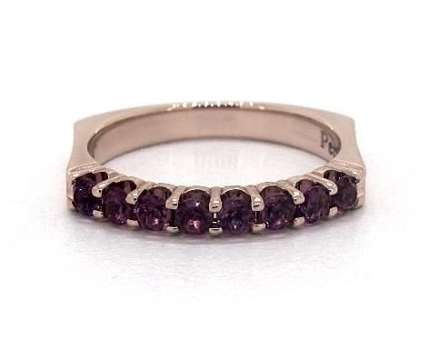 14K Rose Gold Perfect Fit Single Row Pave Rhodolite Garnet Ring