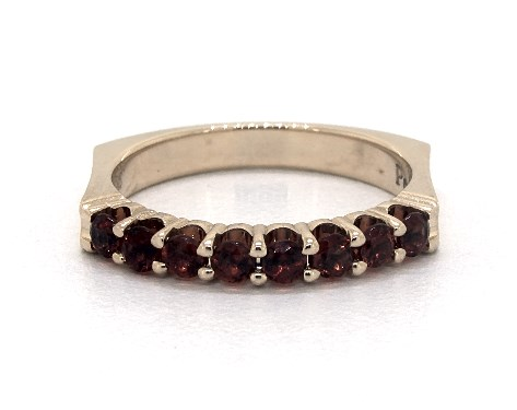 14K Yellow Gold Perfect Fit Single Row Pave Garnet Ring