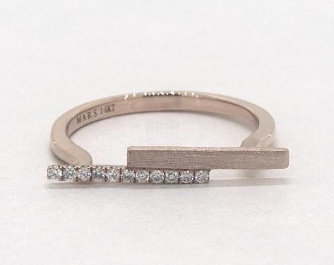14K Rose Gold Asymmetric Rebel Hearts Pave Diamond Bar Ring