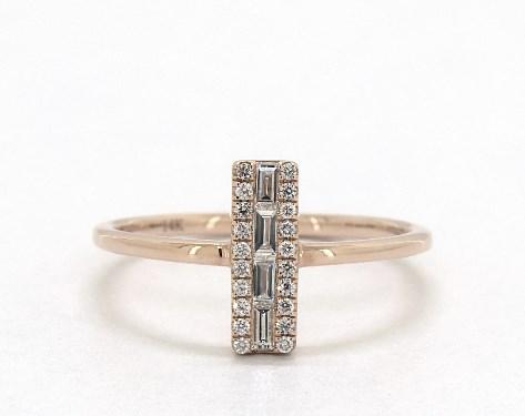 14K Rose Gold Luxe Diamond Bar Ring