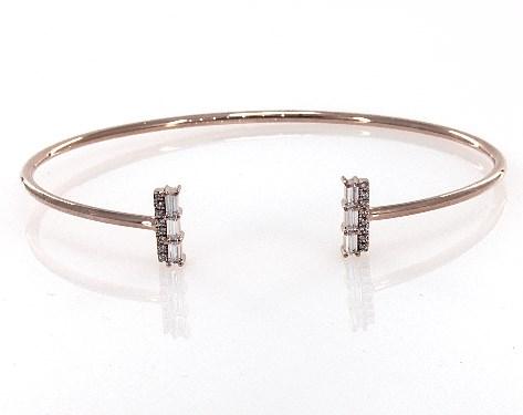14K Rose Gold Open Luxe Diamond Bar Bracelet