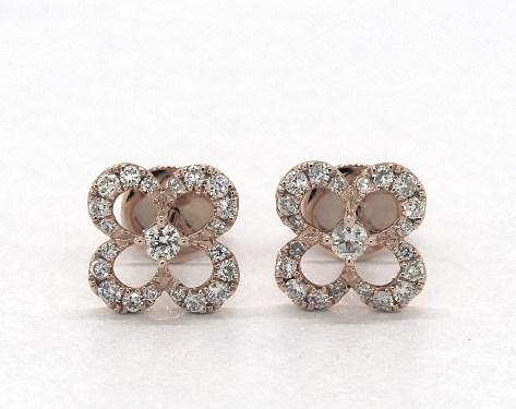 14k Rose Gold Open Petal Golden Blossoms Diamond Earrings