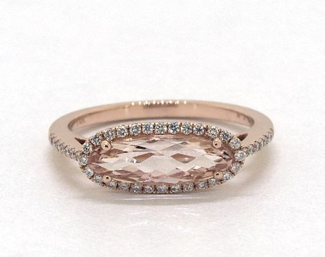 14K Rose Gold East-West Morganite and Diamond Golden Blossoms Ring (12.5x4.0 mm)