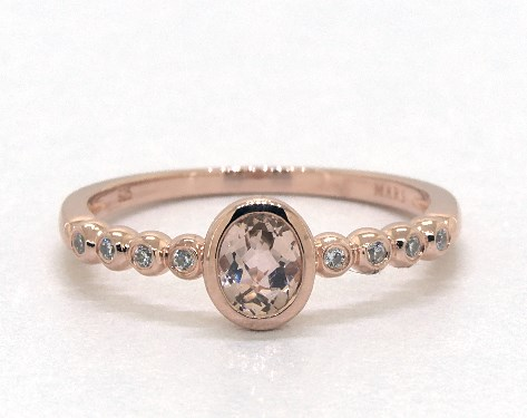 14K Rose Gold Bezel Set Morganite and Diamond Golden Blossoms Ring (5.0x4.0mm)