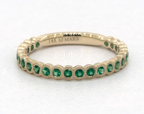 14K Yellow Gold Milgrain Bezel Emerald Ring