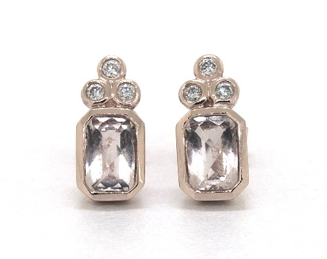 14K Rose Gold Emerald-Cut Bezel Morganite and Diamond Golden Blossoms Earrings (6.0x4.0mm)