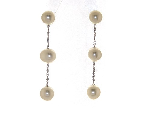 14K White Gold Freshwater Pearl Drop Earrings (5.5-6.0mm)