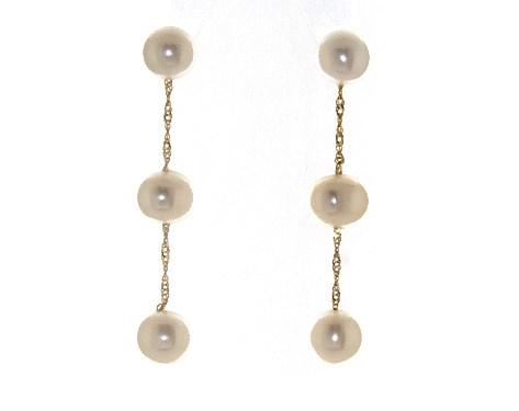 14K Yellow Gold Freshwater Cultured Pearl Drop Earrings (5.5-6.0mm)