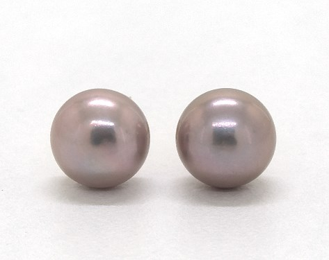 14K Yellow Gold Pink Freshwater Cultured Pearl Earrings (7.0-7.5mm)