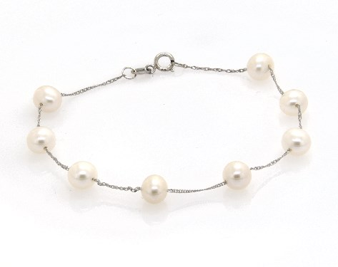 14K White Gold Freshwater Cultured Pearl Station Chain Bracelet (6.0-6.5mm)